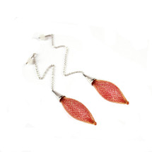 VLUM - Chainettes Épineuses Orange and Red Earrings