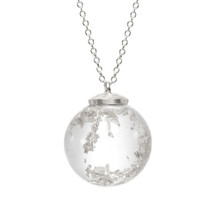 Recycled Sterling Silver Large Silver Rush Crystal Ball Long Pendant