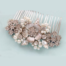 Art Deco Antique Rose Leafy Hair Comb