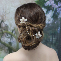 'Bea' Gold Mother Pearl Shell Flower Hair Vine