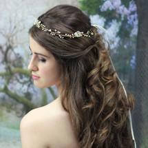 'Brigitte' Handmade Delicate Gold Hair Vine