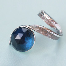 Tina Kotsoni - Sterling Silver and Blue Fact Lapis Feather Ring