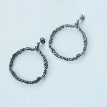 Tina Kotsoni - Oxidised Sterling Silver Hoop Earrings