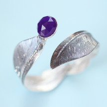Tina Kotsoni - Sterling Silver and Amethyst Purple Feather Bangle