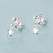 Tina Kotsoni - Sterling Silver Flower Stud Earrings