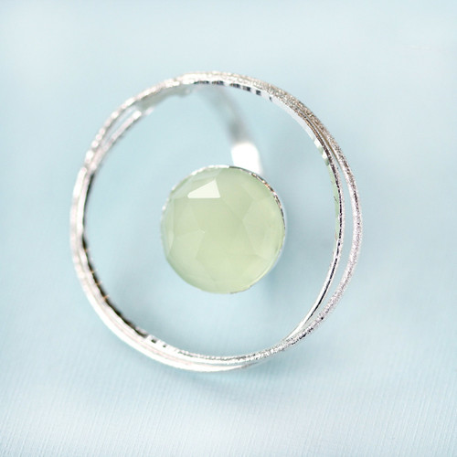 Tina Kotsoni - Sterling Silver Lake Green Chalcedony Stone Statement Ring