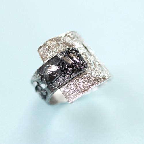 Tina Kotsoni - Black and Silver Contrasting Ring