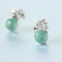 Tina Kotsoni - Sterling Silver and Green Gemstone Earrings