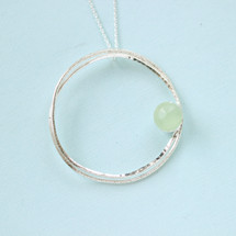 Tina Kotsoni - Sterling Silver Lake Green Chalcedony Stone Necklace
