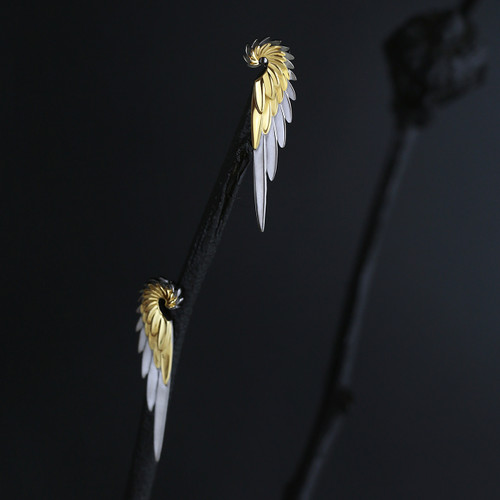 Shi_Kou_Er_Jiong_handmade_earrings_bird_wings_gold_plating_sterling_silver