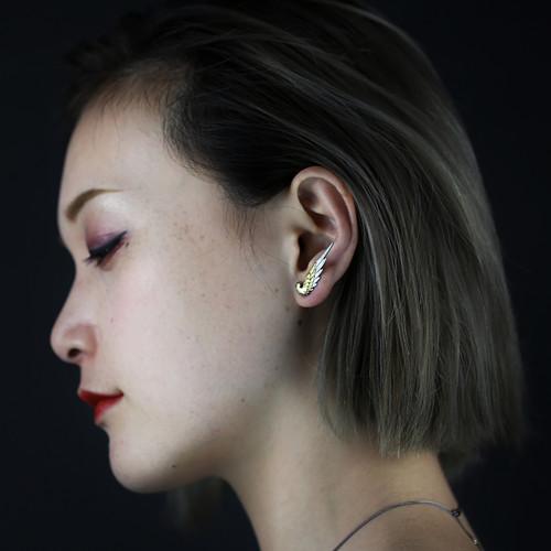 Shi_Kou_Er_Jiong_handmade_earrings_bird_wings_gold_plating_sterling_silver