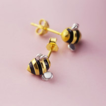 Shi_Kou_Er_Jiong_earrings_studs_bumble_bee_gold_plating_sterling_silver