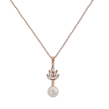 classic rose gold ivory pearl pendant necklace