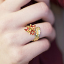 Cyttaro  Gold Plated Crushed  Red Garnet Dust Ring