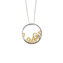 Shi Kou Er Jiong - Gold Vermeil Sterling Silver Propitious Clouds Necklace Pendant