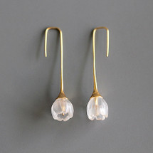 Botanic_Garden_collection_tulip_flower_clear_quartz_earrings_handmade_gold_plated_sterling_silver