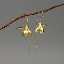 gold_plated_sterling_silver_large_flower_earrings_drop_dangle_long_botanic_collection