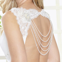 strings of pearls, necklace,bridal,backdrop,necklace,Silver Waterfall Bridal Dress Backdrop Necklace ARN102