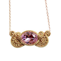 Hand Embroidered Gold and Amethyst Purple Necklace