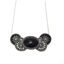 Hand Embroidered Black Leather and Silver Necklace