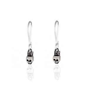 Sterling Silver Queen Skull Dangle Earrings