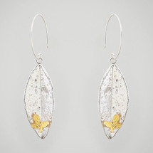 Gold Plated Butterfly on Silver Leaf Drop Earrings