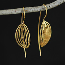 18ct Gold over Silver Long Leaf Styled Earrings