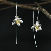 Silver Open Flower Long Earrings