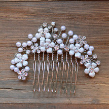 'Freya' Silver Flower Bridal Hair Comb With Crystals