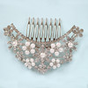 Layla Crescent flower pearl wedding hair comb slide