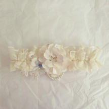 handsewn flower ivory heavy lace bridal wedding garter