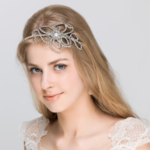 Lauren diamante flower wedding bridal side headband