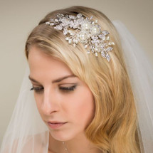 'Ariel' Pearl Crystal Sensation Bridal Side Tiara