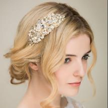 'Tallulah' Gold Pearl Crystal Side Headpiece