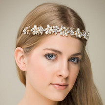 'Yasmin' Gold Glamour Pearl Crystal Princess Tiara