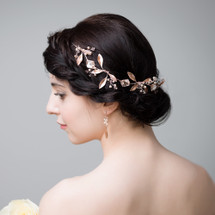 rose gold leafy wedding bridal hair vine wreath chain with crystal