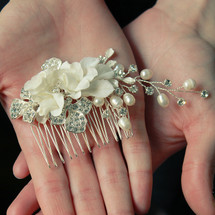 'Ruby' Bridal Hair Comb Silk Flower with Pearl Clusters