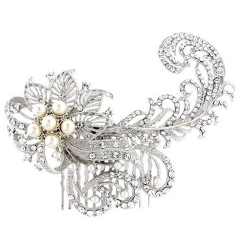 'Annalise' Diamante Crystal Pearl Feather  Bridal Hair Comb