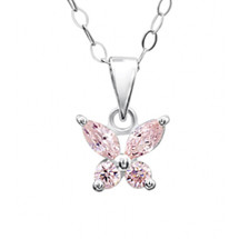 'Courtney' Silver and Pink CZ Butterfly Pendant