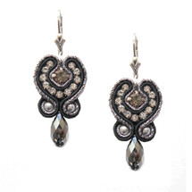 Silver and Black Hand Embroidered Drop Earrings Pre Order Only