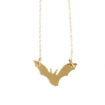 Laser Cut Gold Plated Bat Necklace