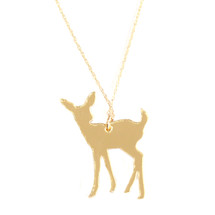 Laser Cut Gold Plated Baby Dear Necklace