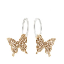 Laser Cut Glitter Gold Butterfly Earrings