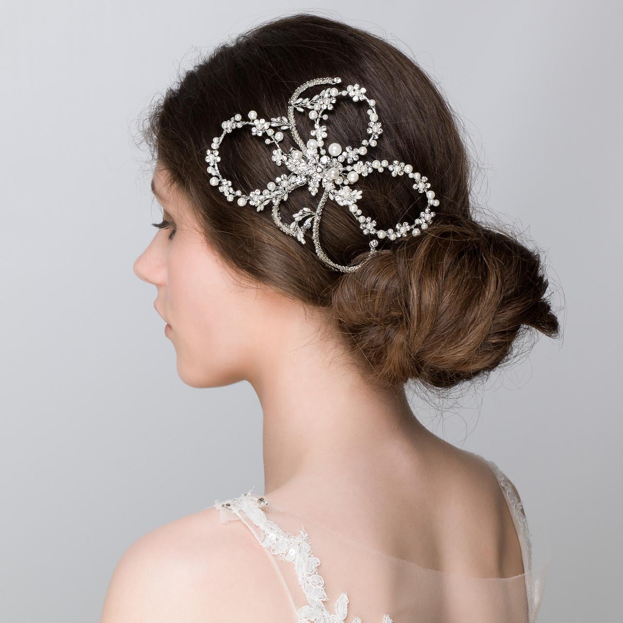Olivia Large Bridal Flower Hair Clip | Pearls Wedding Accessories | Lily Luna Edinburgh Scotland