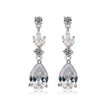 'Agnes' Statement Leafy diamante bridal wedding Teardrop Earrings