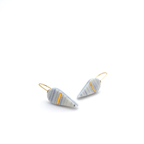 White and BlueTeardrop Porcelain with Gold Luster Earrings