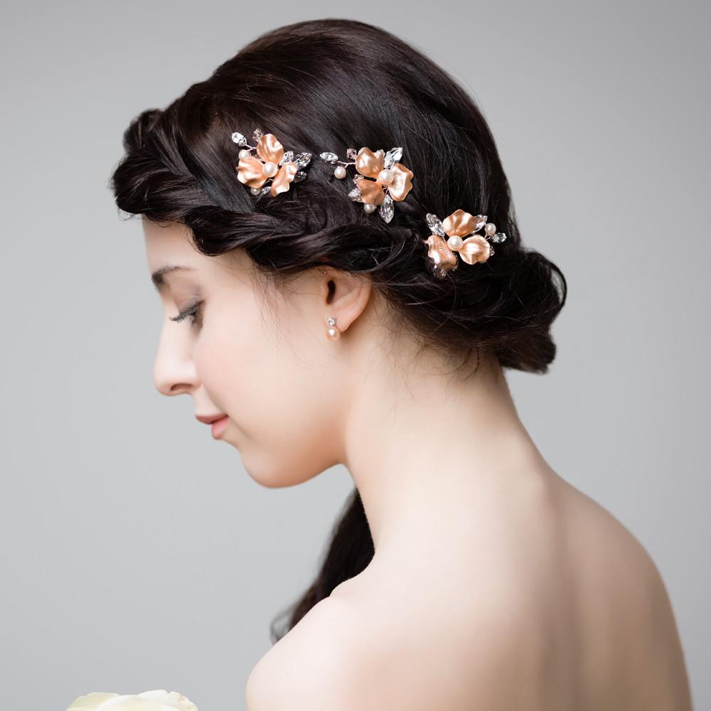 U0026#39;Cherry Blossomu0026#39; Rose Gold Hair Pins | Handmade Bridal Accessories From Arianna | Lily Luna ...