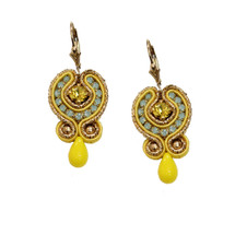 Hand Embroidered Bright Yellow Earrings