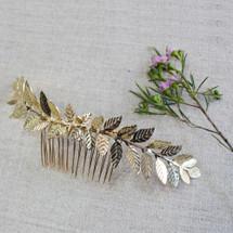 'Beth' Gold Curved Leafy Grecian Wreath Hair Comb