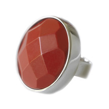 Lite Red Jade Stone Silver Ring